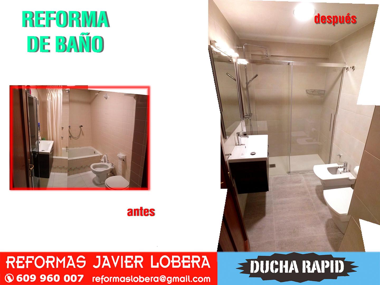 reforma de baño completo con plato de ducha a rás de suelo