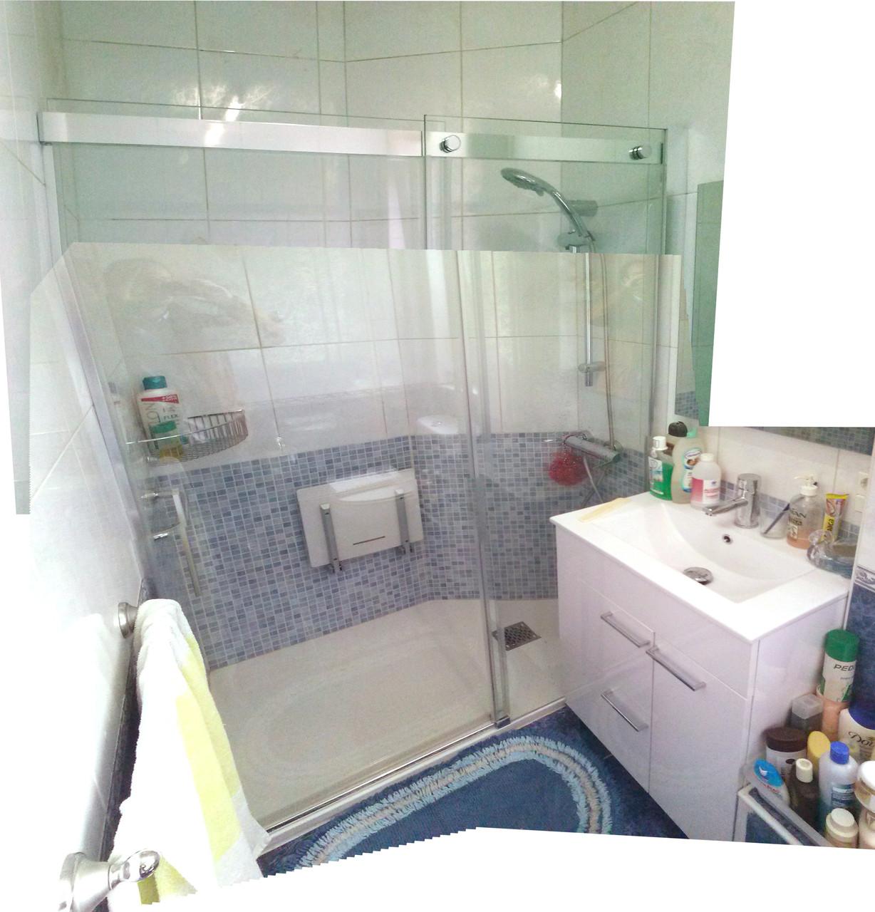 reubicacion de plato de ducha y mueble lavabo con plato de ducha con corte especial en chaflan