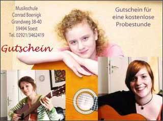 Gutschein für kostenlose Schnupperstunde, Musikschule und Gesangsschule Boenigk, Grandweg 38 - 40, - 59494 Soest.