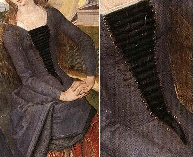 1480/ Modo de ajustar las prendas femeninas antes de que el uso del botón se generalizase