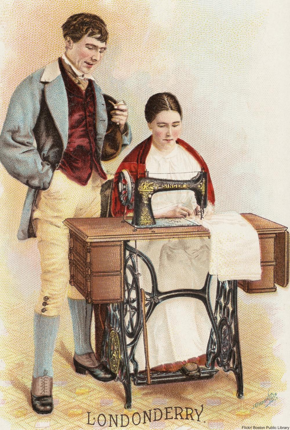 Mujer cosiendo con las primeras Singer- mediados del siglo XIX