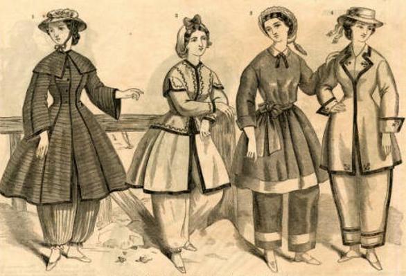 Conjuntos para baños de mar en revista de moda de 1860