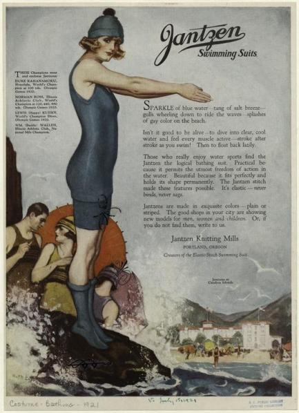 1920 Marca Jantzen americana de trajes de baño
