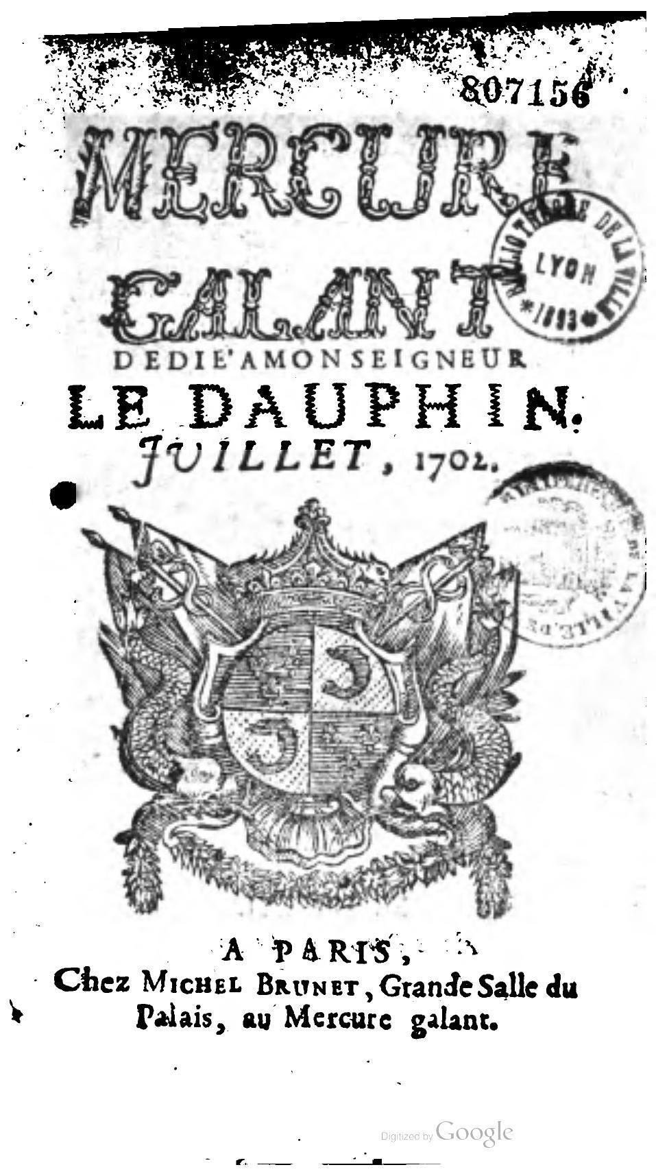 """Publicación """"Mercure Galant """" 1702"""
