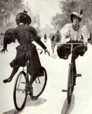 Mujeres en bicicleta con bloomers, 1890