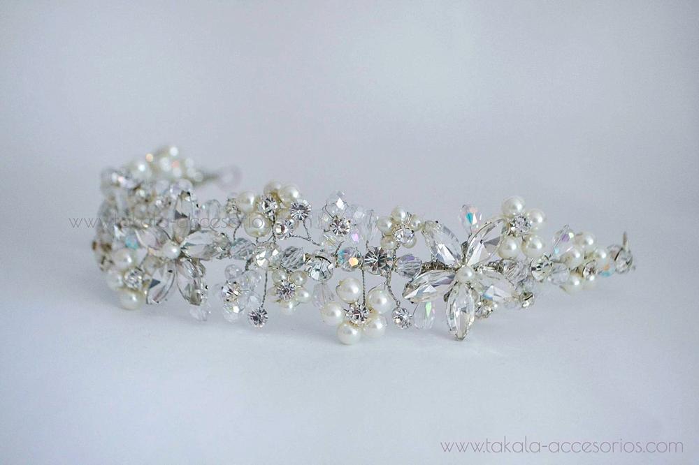 vincha novia, vincha perlas, tocado novia, vincha cristal