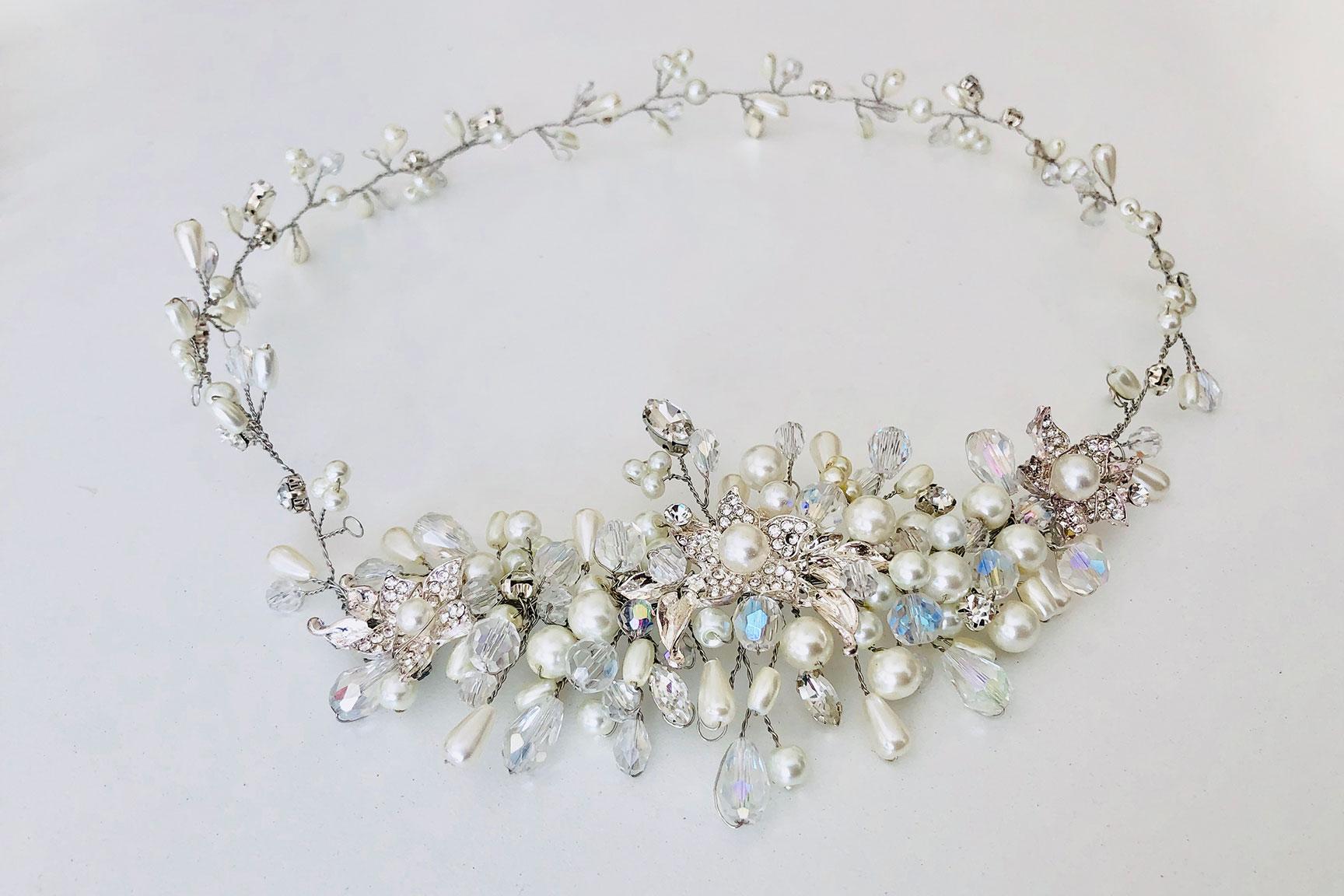 vincha novia, tocado novia, boho, vincha perlas.