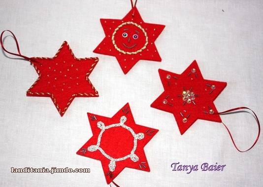 Ёлочные игрушки из ткани,звезды