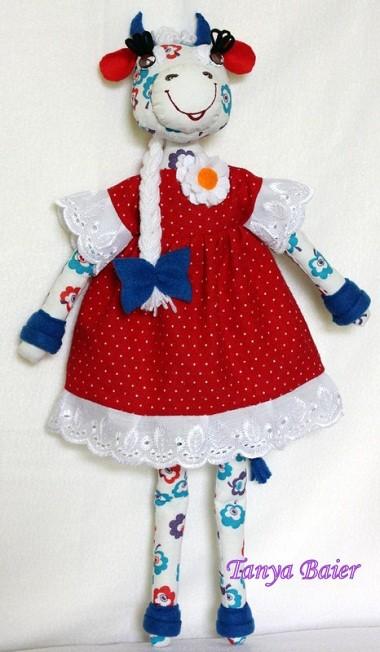 текстильная кукла, игрушка, корова