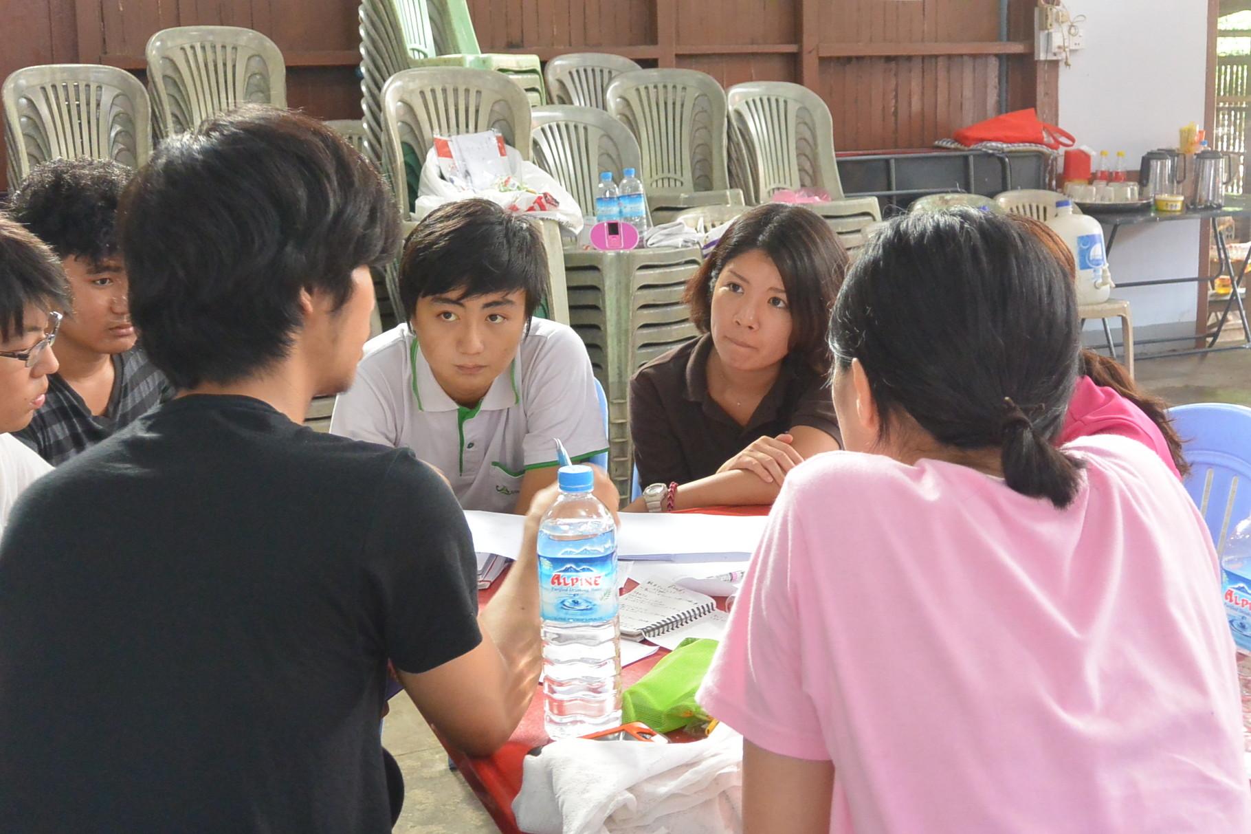 日本からの参加者と現地の青年たちと絵本作りに向けたミーティング