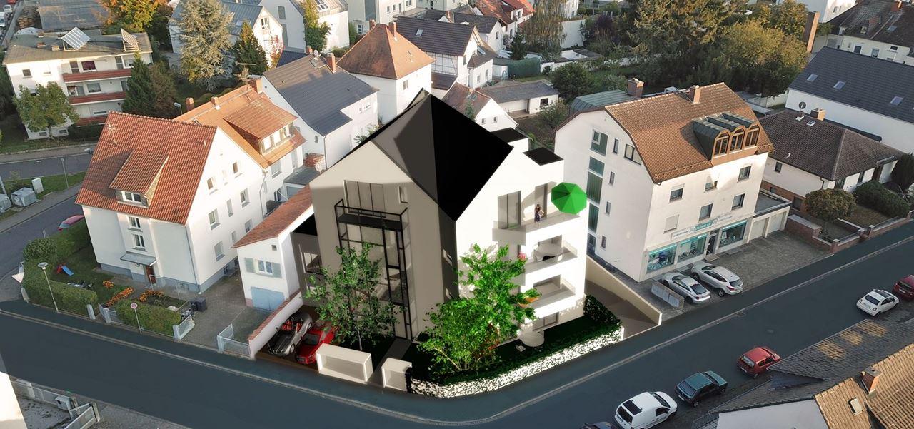 3D Visualisierung Mehrfamilienhaus in Umgebung integriert