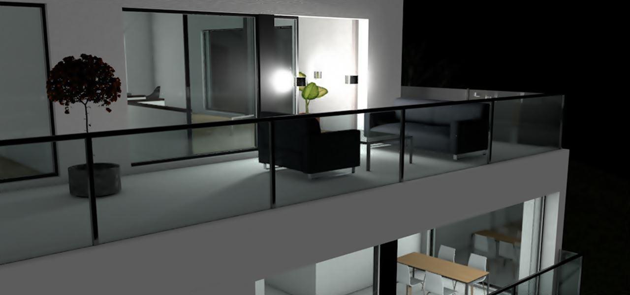 3D Architekturvisualisierung bei Nacht