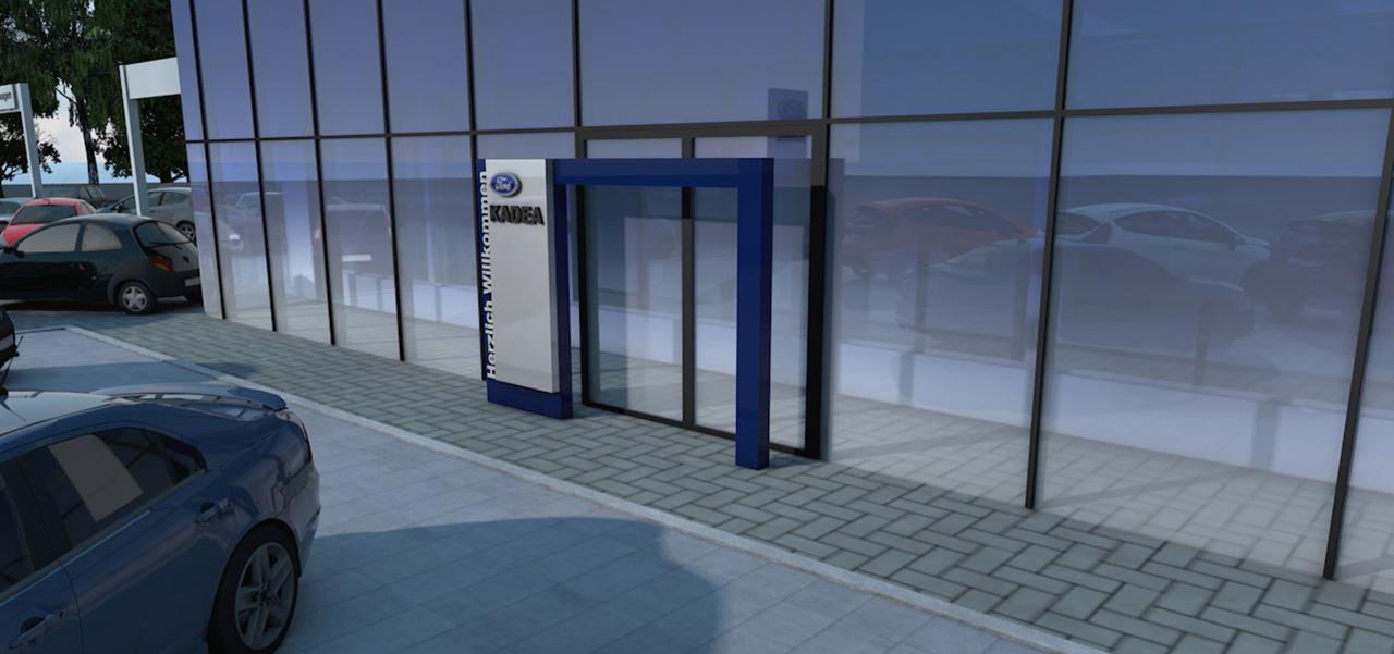 Architektur-Visualisierung Ford Store Eingangsbereich