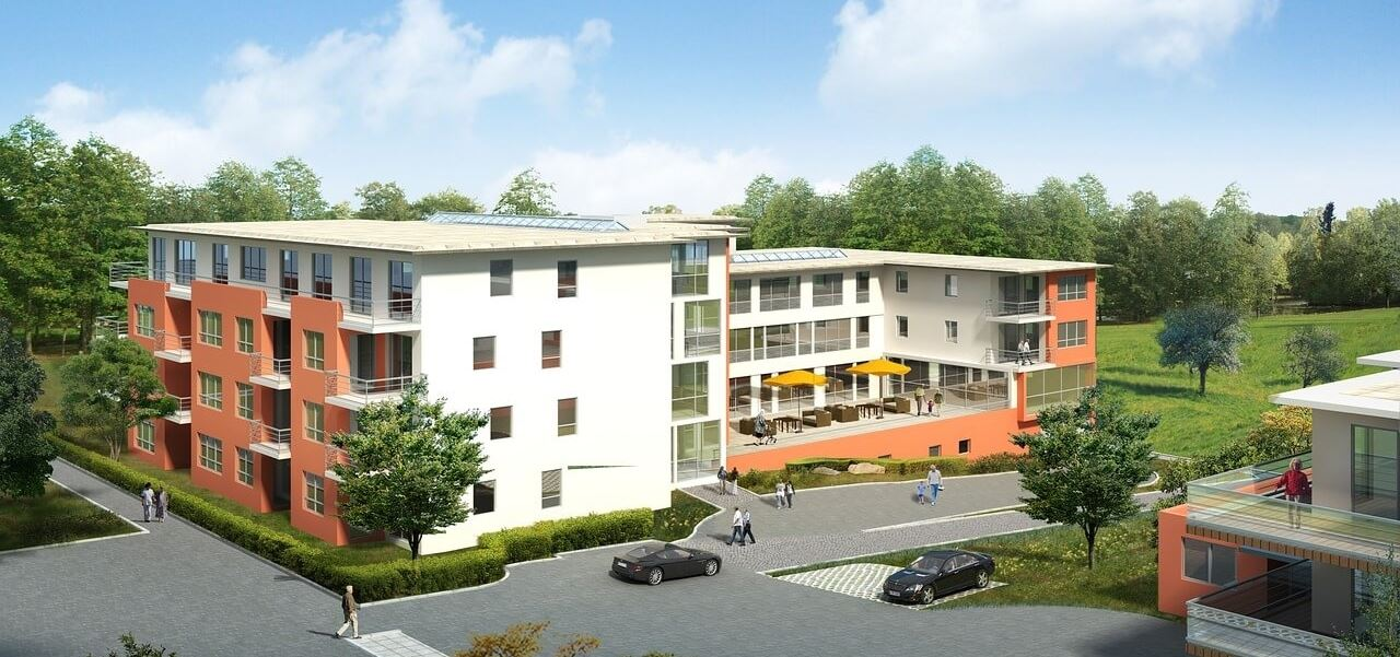 Architekturvisualisierung geplante Wohnanlage