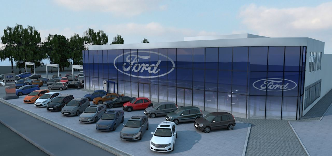 Architektur-Visualisierung Ford Store Glasfassade