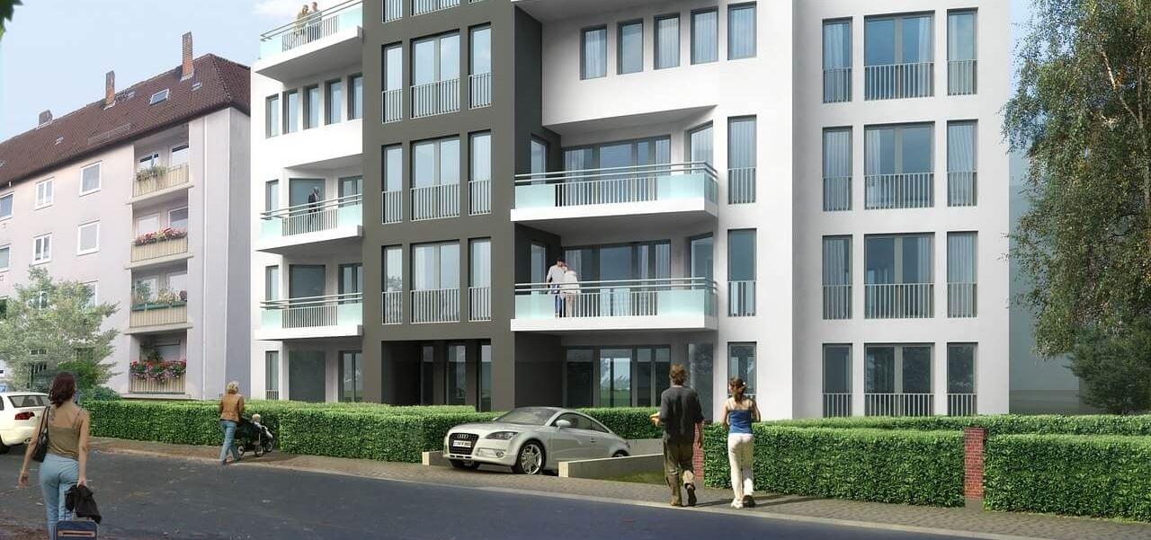 Architektur-Visualisierung renoviertes Mehrfamilienhaus
