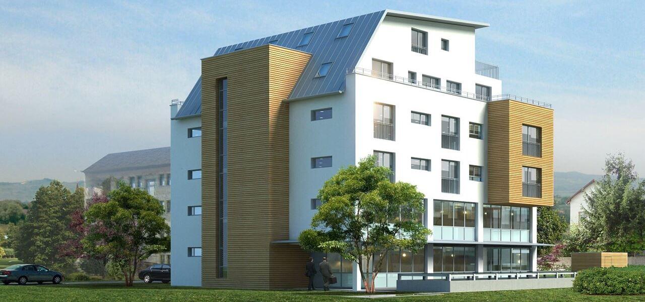 Visualisierung mehrstöckiges Wohn- und Geschäftshaus