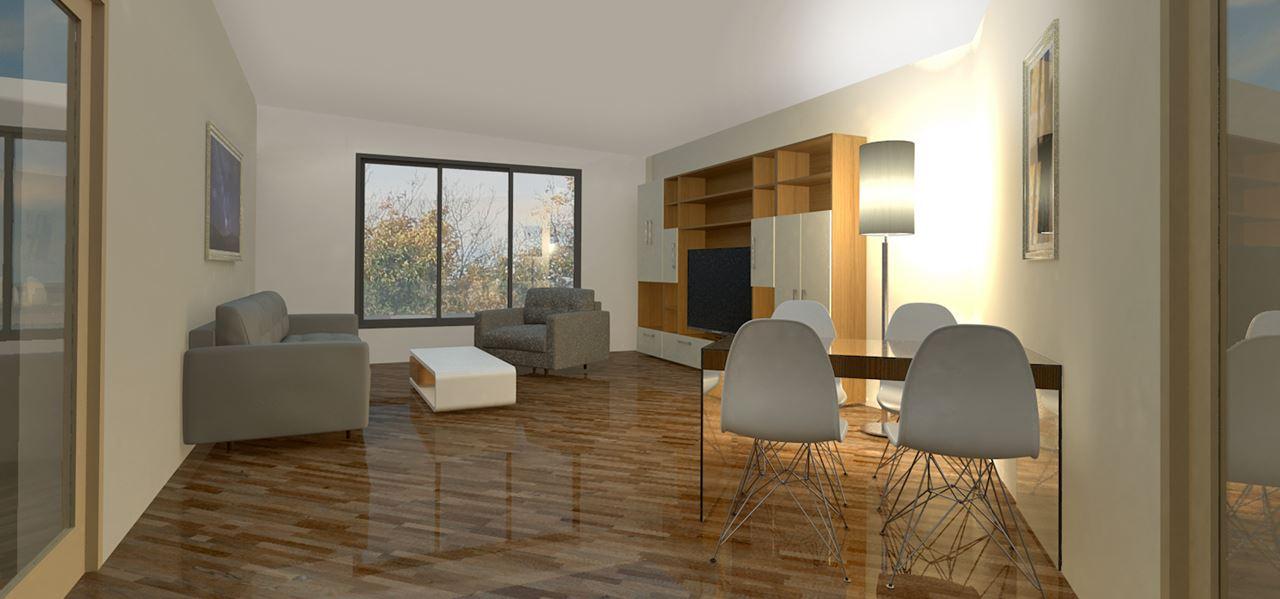 3D Visualisierung Wohnzimmer mit Parkett