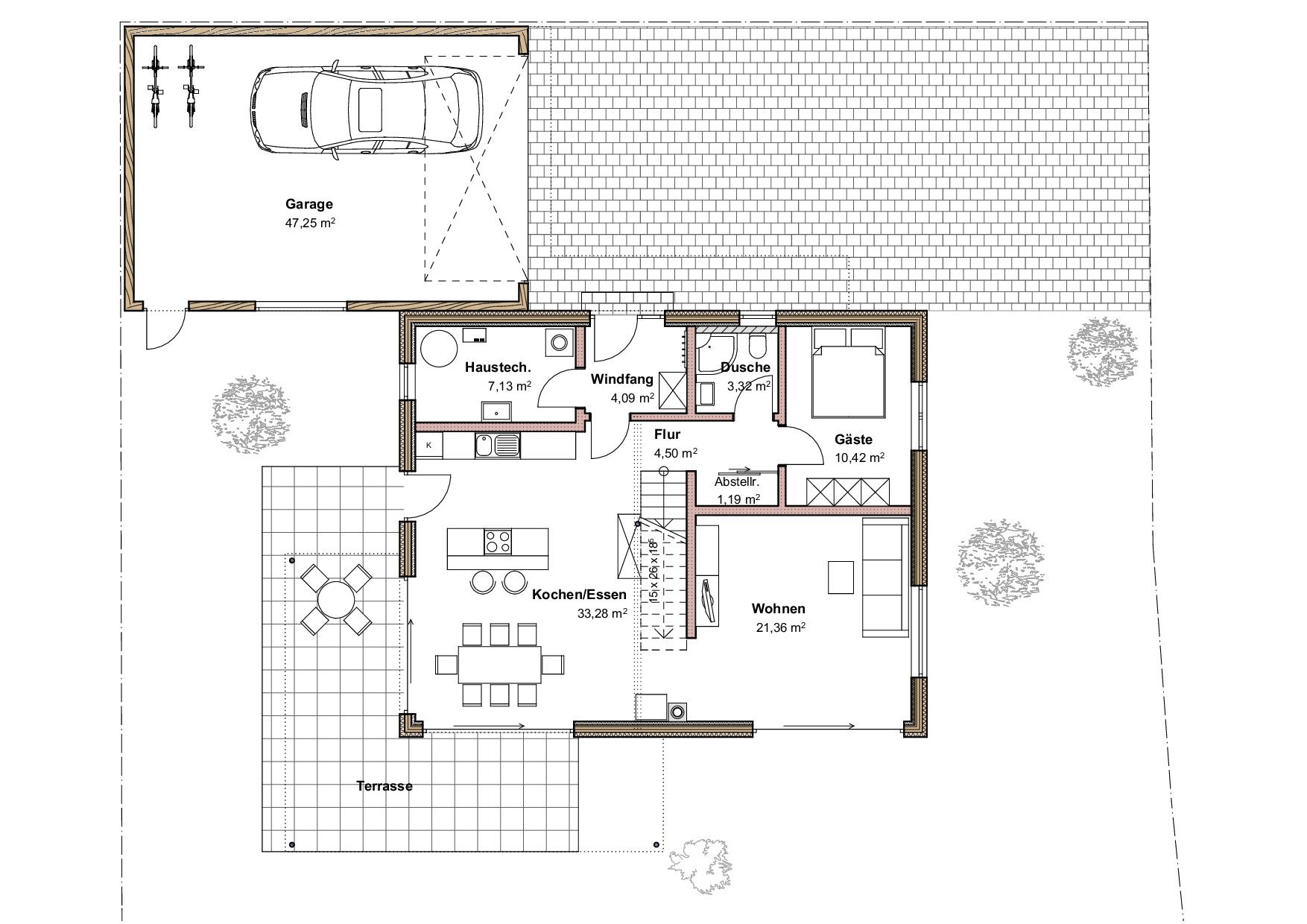 Grundriss, Erdgeschoss, Einfamilienhaus in Oberstaufen