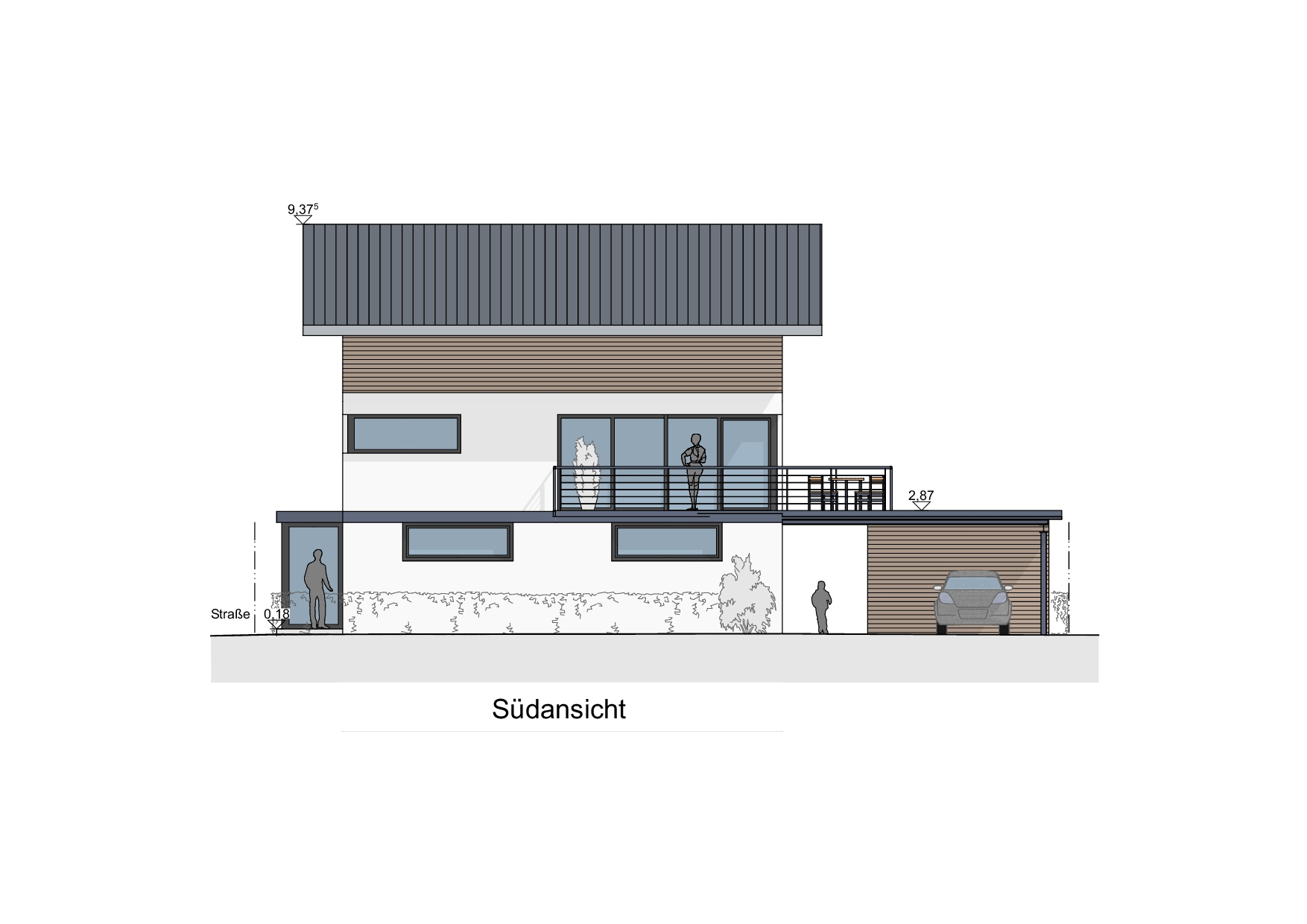 Einfamilienhaus mit Geschäftsbereich in Lindenberg - Südansicht