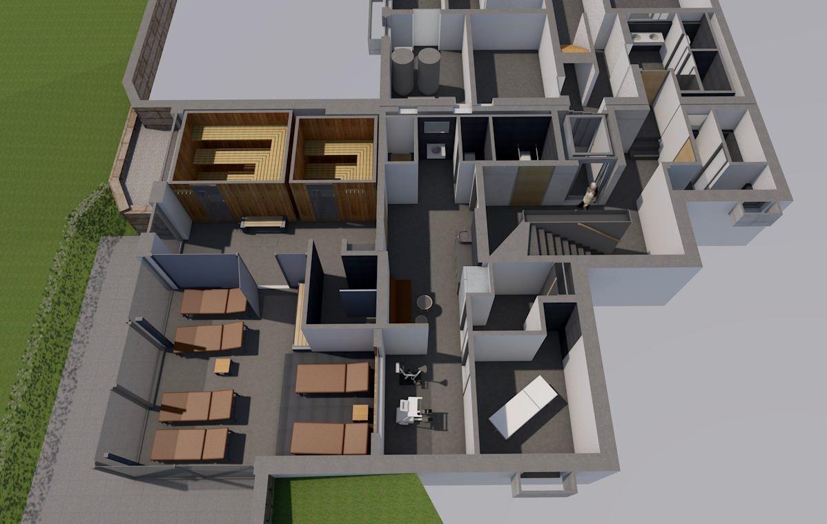 Visualisierung, Innenansicht Wellness und SPA-Bereich, Anbau an Beherbergungsbetrieb in Scheidegg