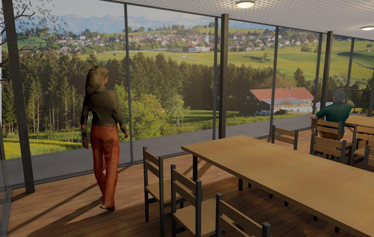 Visualisierung, Innenansicht Veranstaltungssaal, Anbau an Beherbergungsbetrieb in Scheidegg