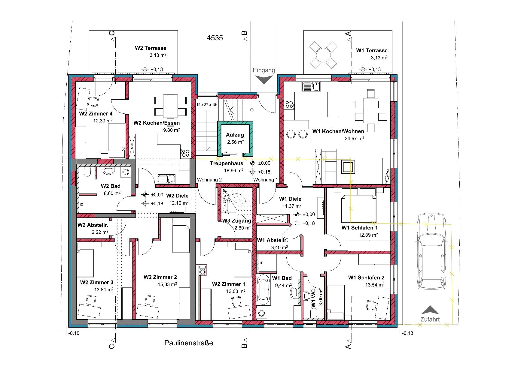 Grundriss, Erdgeschoss, Mehrfamilienhaus in Winnenden