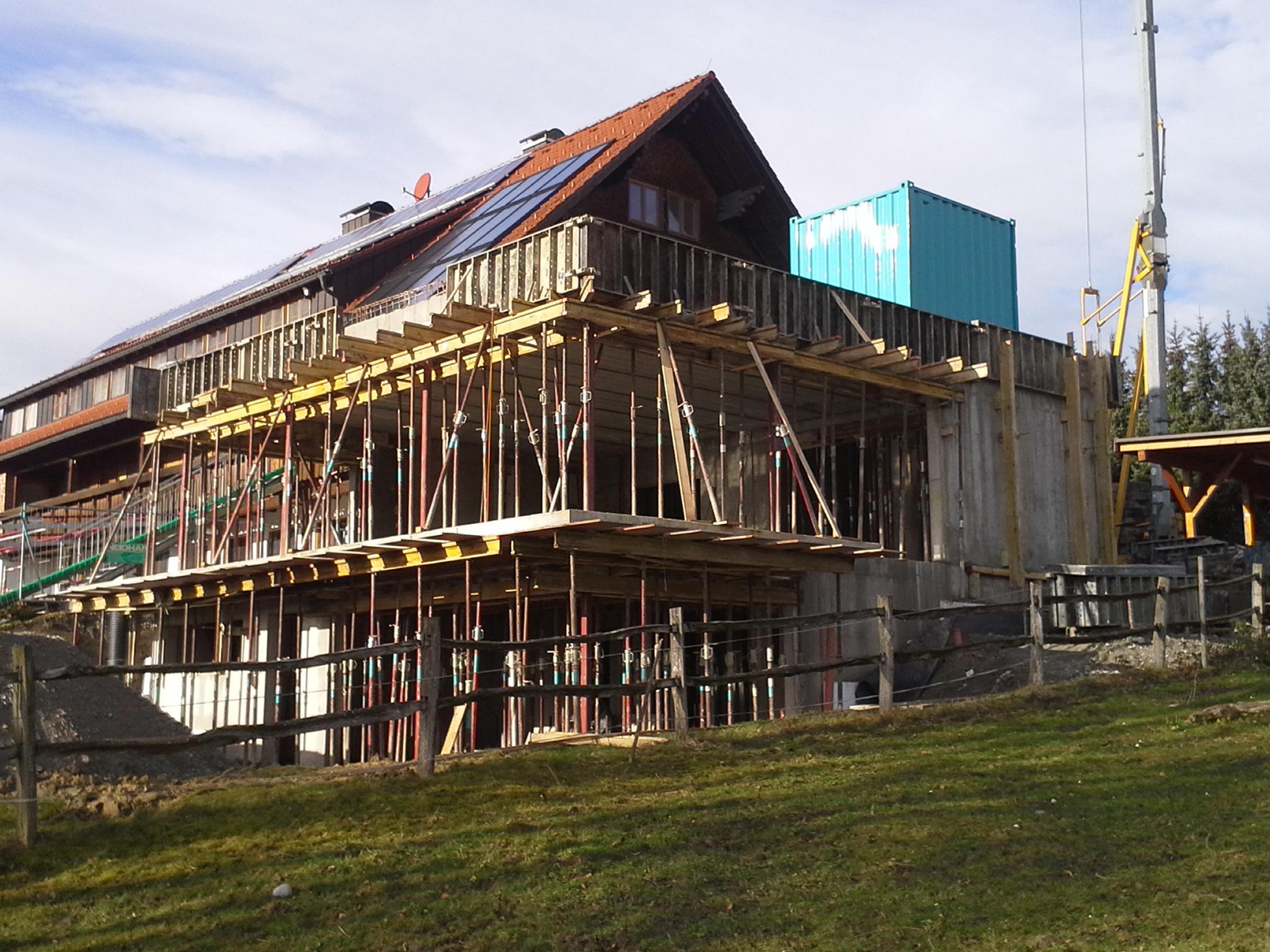 Bauphase, Rohbau, Anbau an Beherbergungsbetrieb in Scheidegg