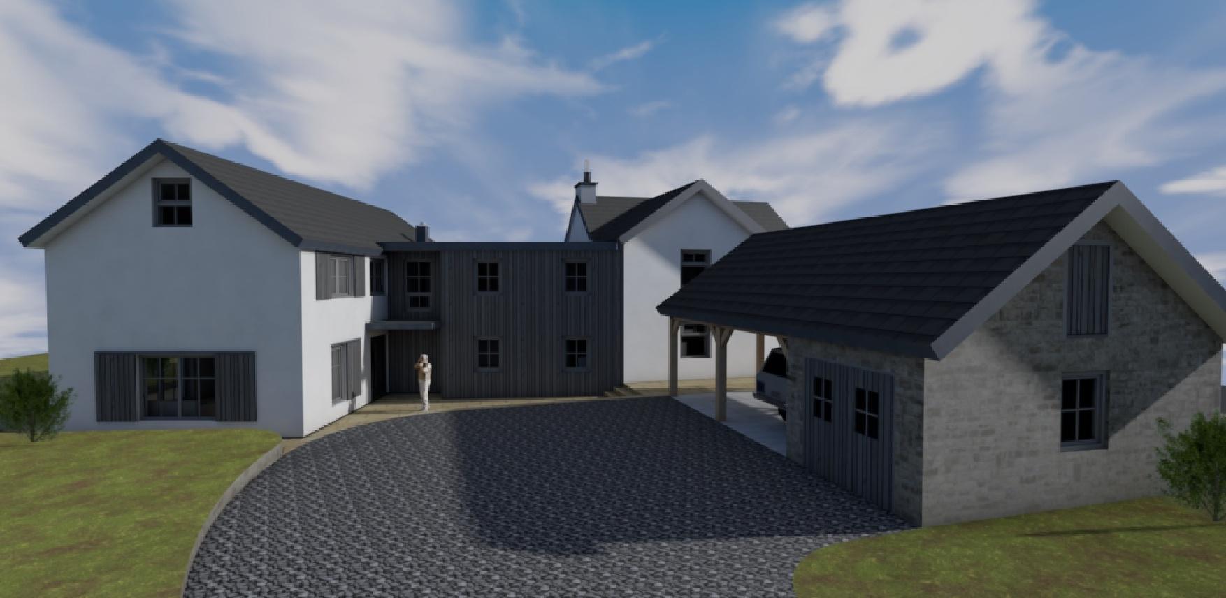Visualisierung, Teilabbruch und Neubau Wohnhaus mit Garage in Rynys - Nordansicht