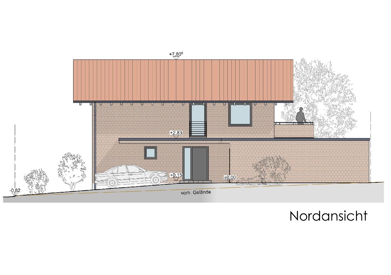 Visualisierung, Einfamilienhaus in Oberstaufen, Nordansicht