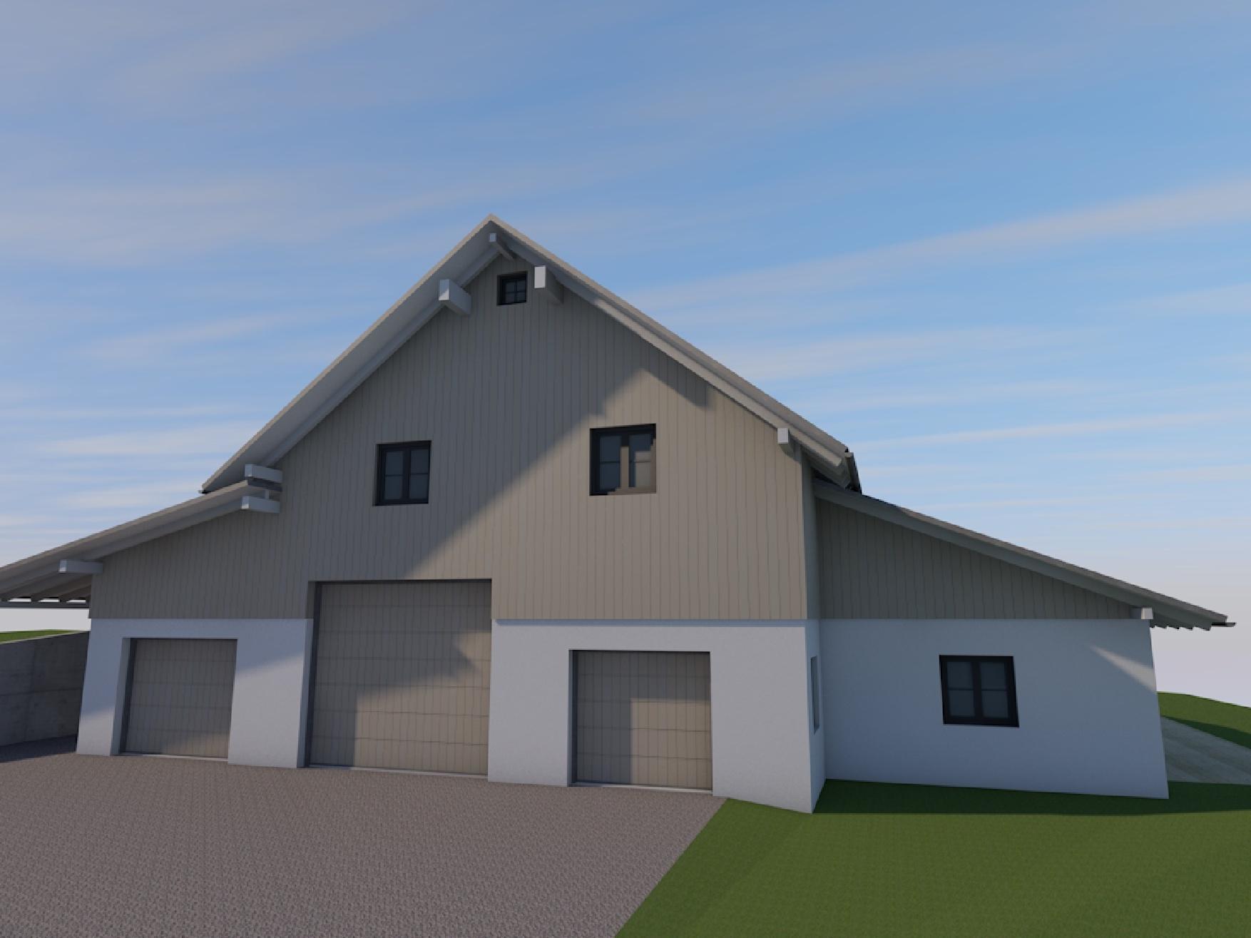 Visualisierung, landwirtschaftlicher Bereich, Sanierung Bauernhof in Niederstaufen