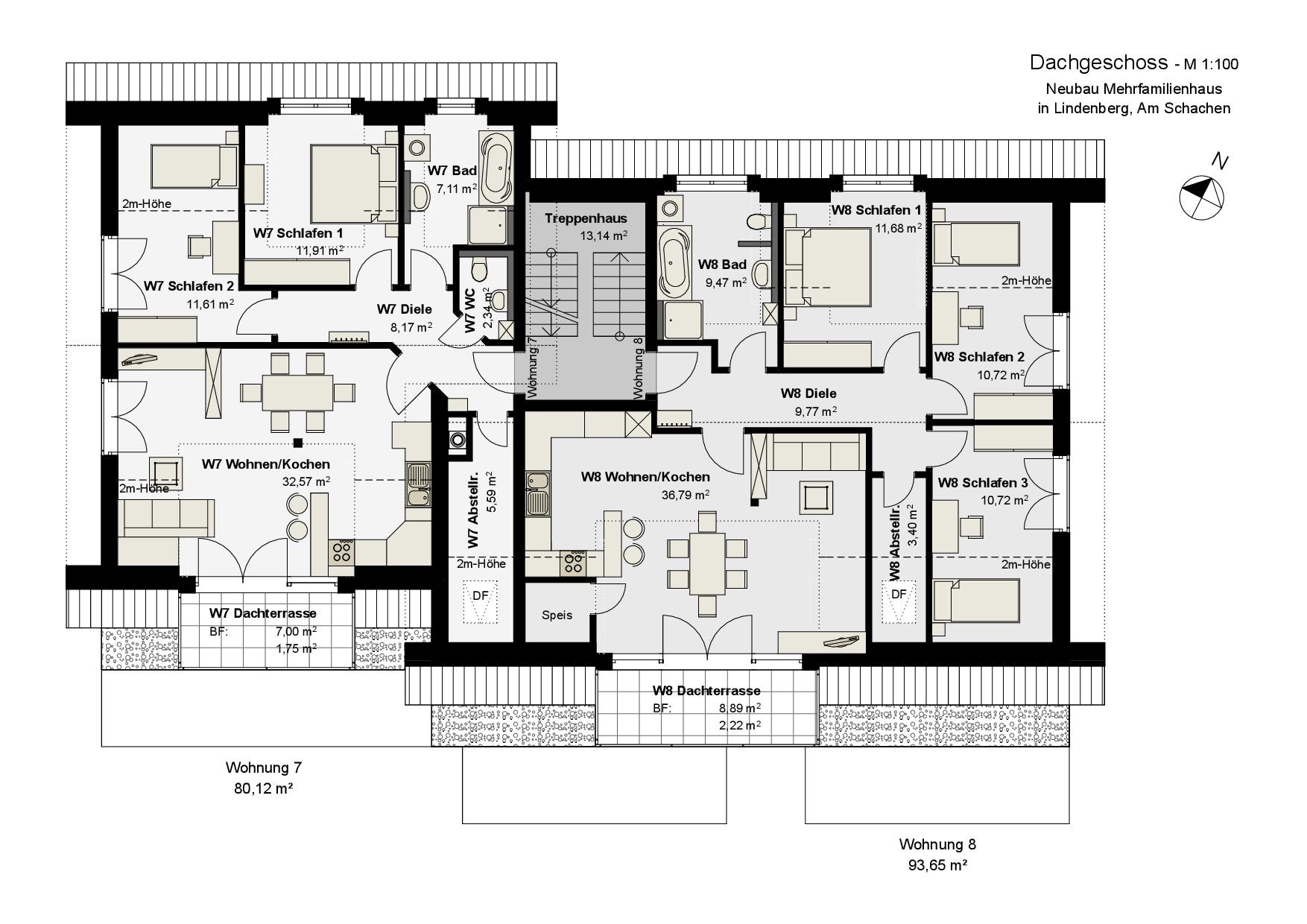 Grundriss, Dachgeschoss, Mehrfamilienhaus in Lindenberg