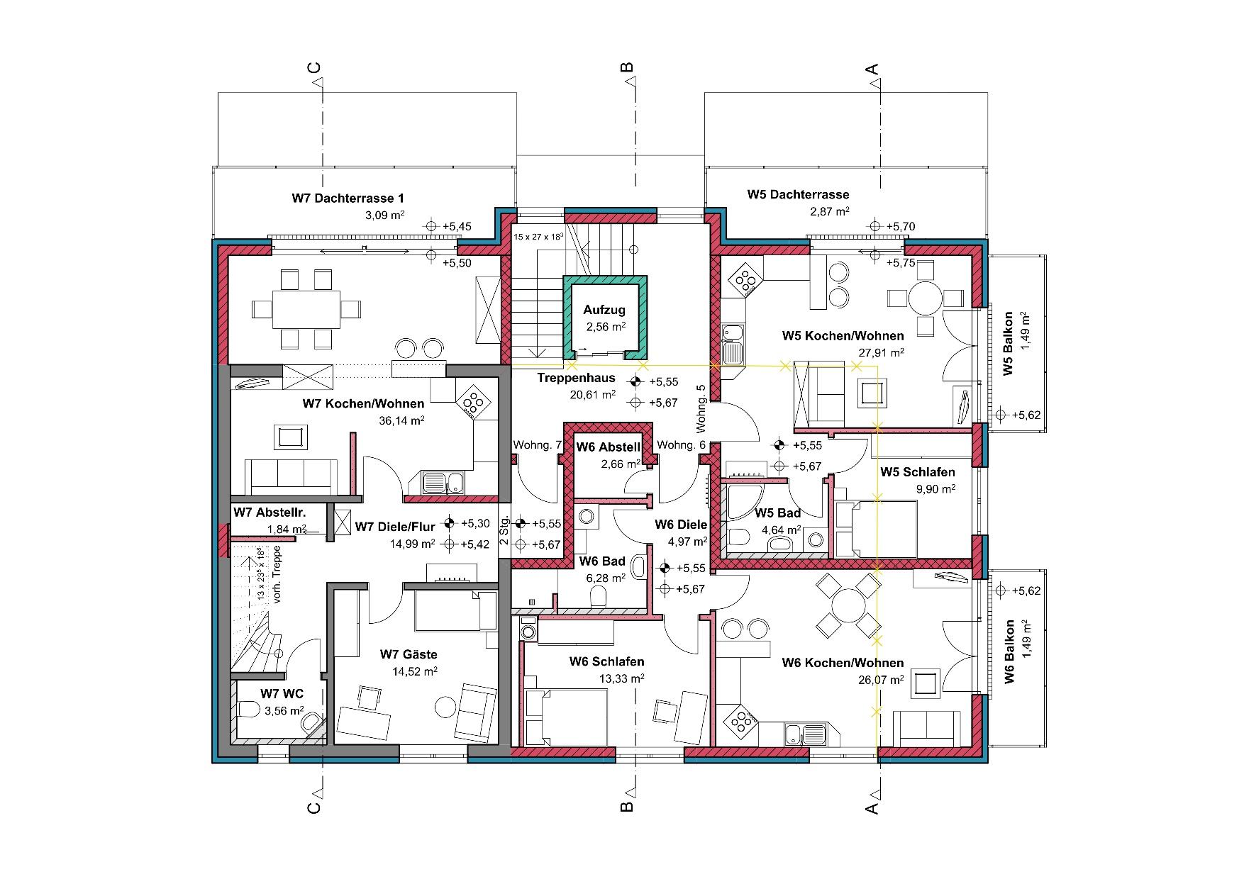Grundriss, 2. Obergeschoss, Mehrfamilienhaus in Winnenden