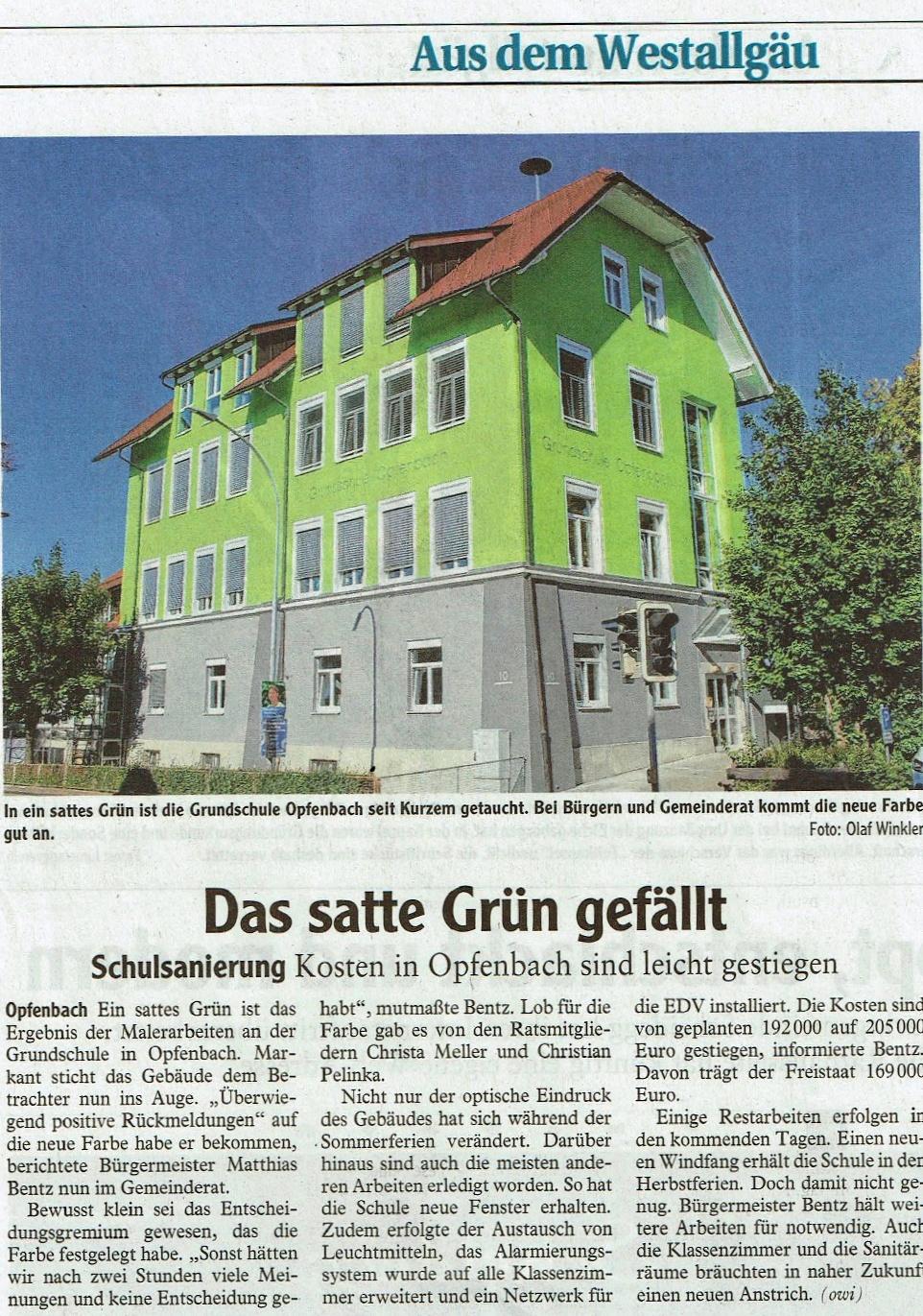 Energetische Sanierung Grundschule in Opfenbach - Bericht Westallgäuer Zeitung