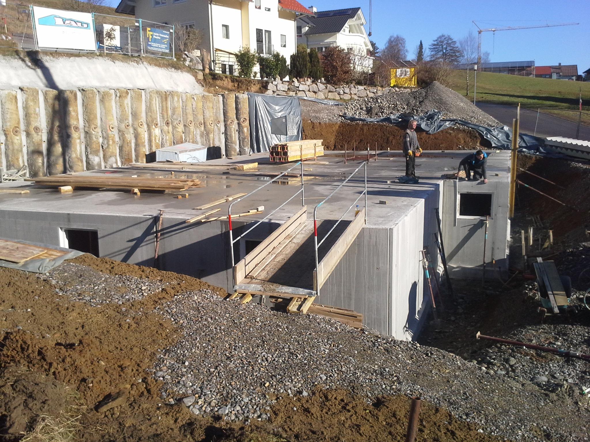 Bauphase, Keller, Mehrfamilienhaus in Lindenberg