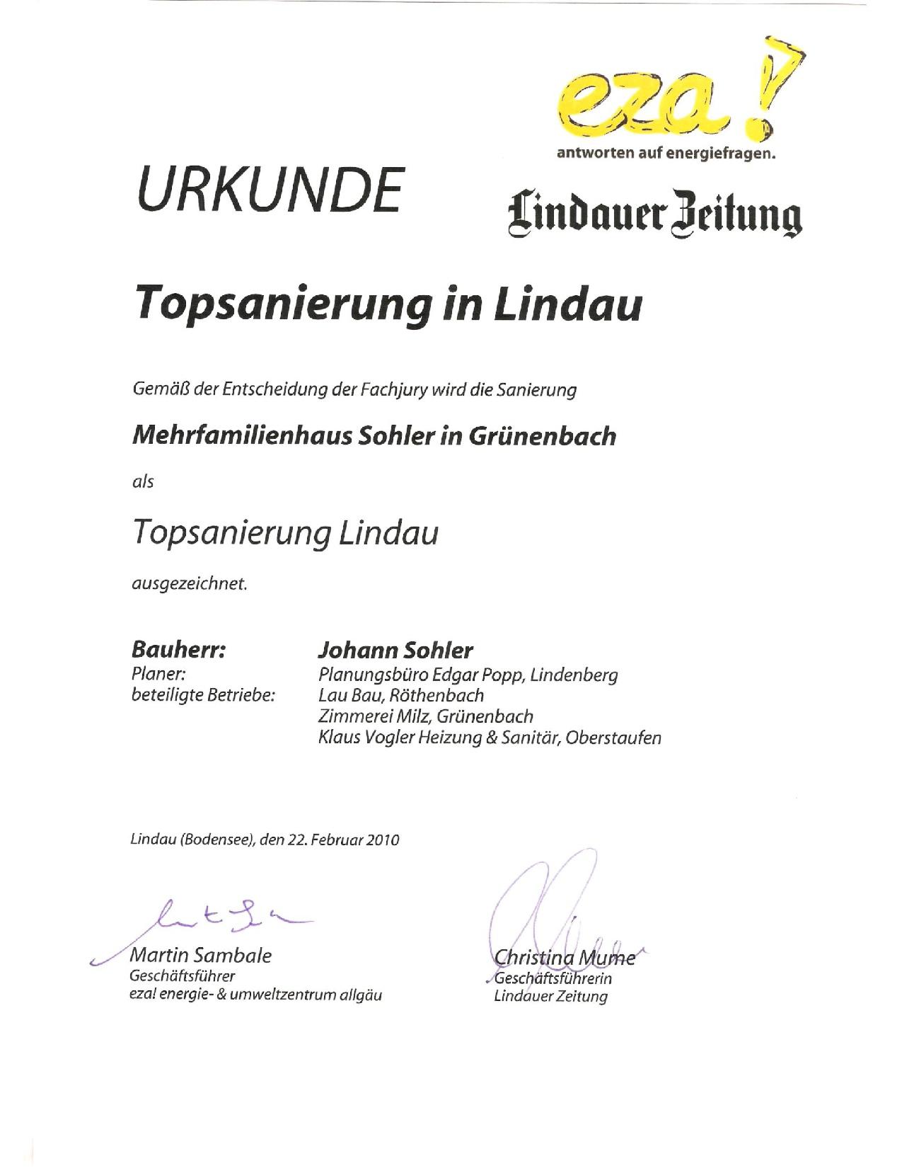 Urkunde, Topsanierung, Umbau und energetische Sanierung MFH in Grünenbach