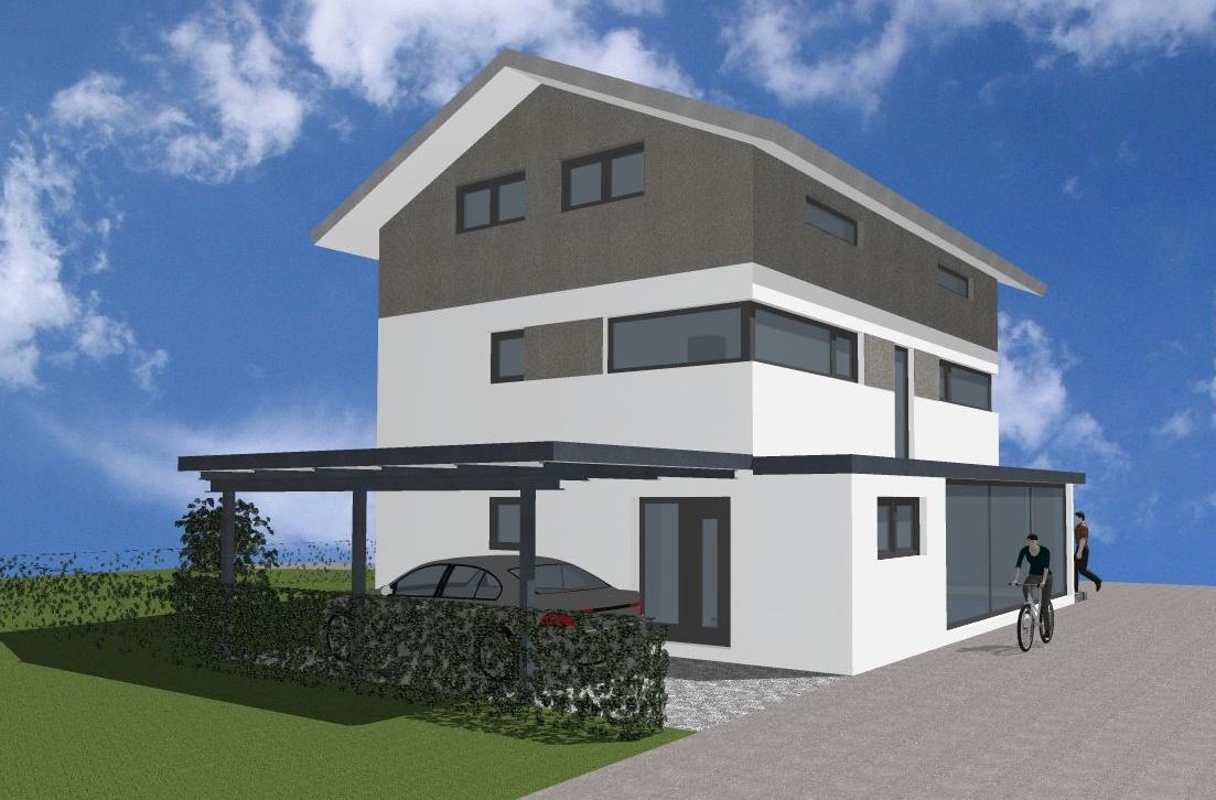 Visualisierung, Einfamilienhaus mit Geschäftsbereich in Lindenberg
