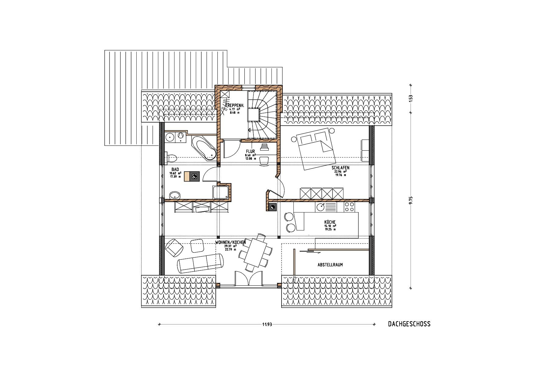 Grundriss, Dachgeschoss, Umbau und energetische Sanierung MFH in Grünenbach