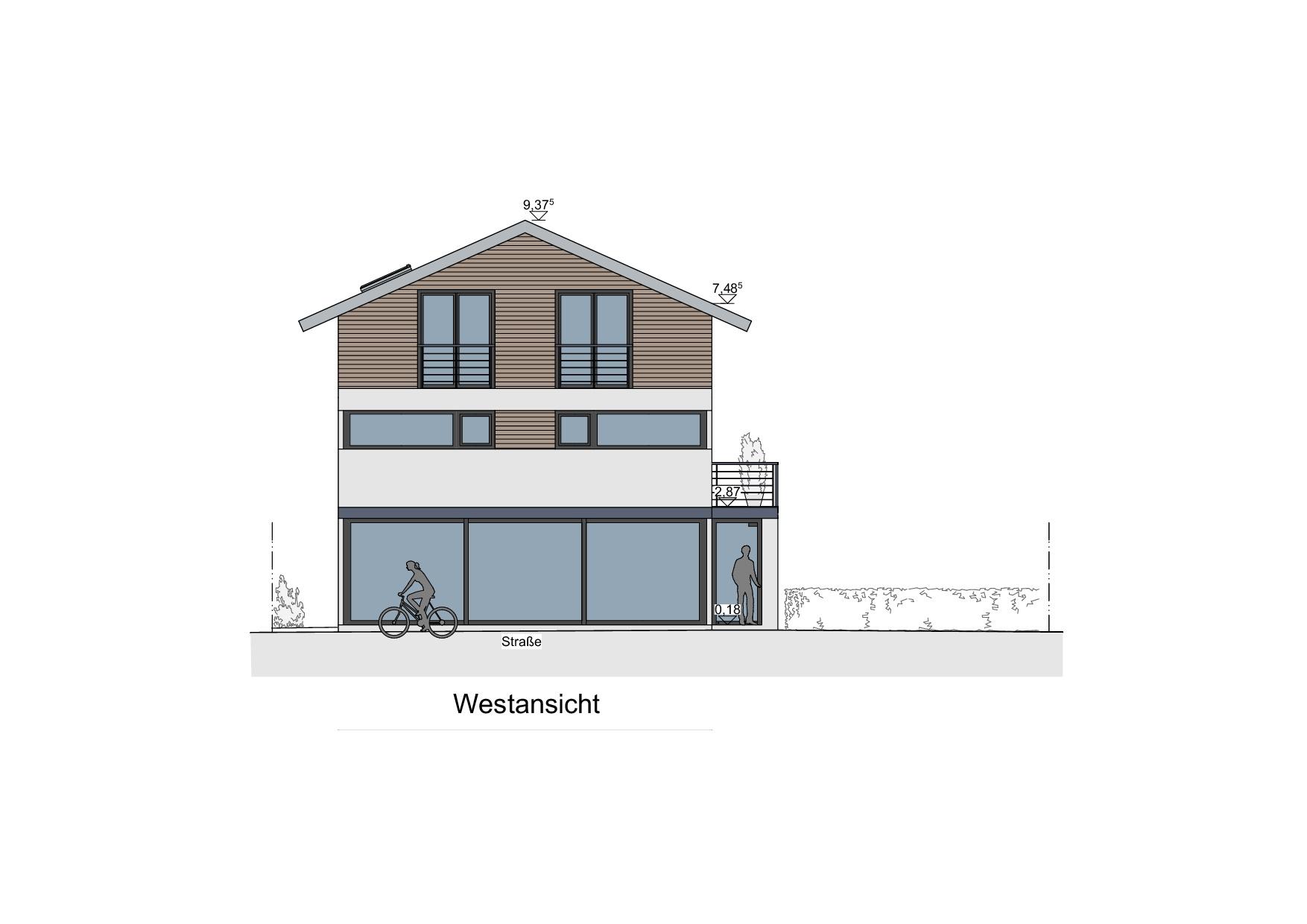 Einfamilienhaus mit Geschäftsbereich in Lindenberg - Westansicht
