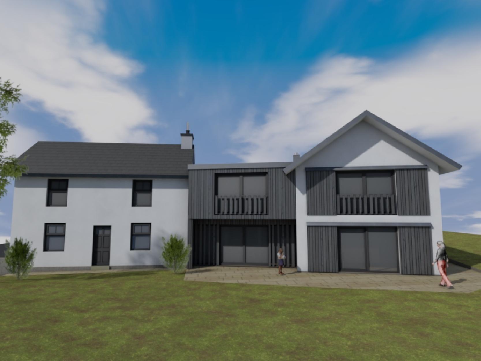 Visualisierung, Teilabbruch und Neubau Wohnhaus mit Garage in Rynys - Südansicht