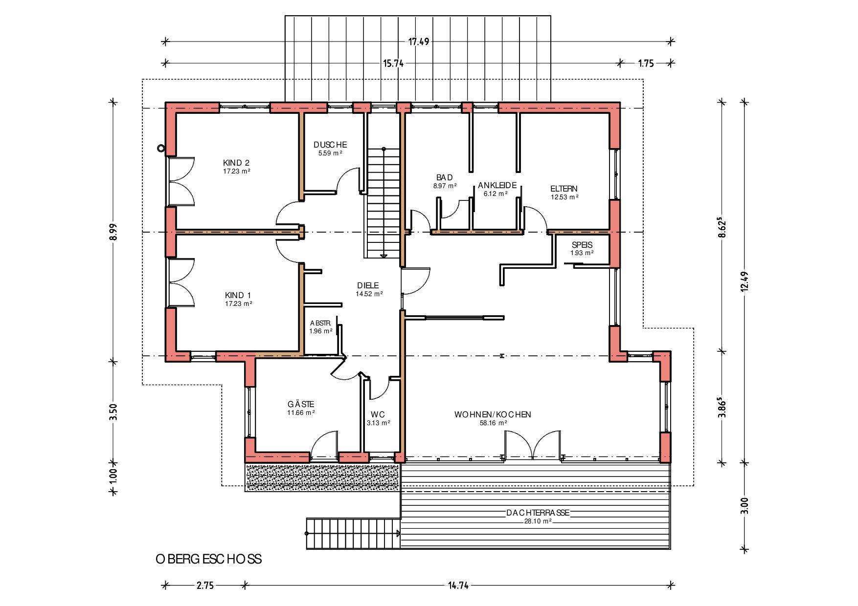 Grundriss, Obergeschoss, Neubau Wohn- und Geschäftshaus in Heimenkirch