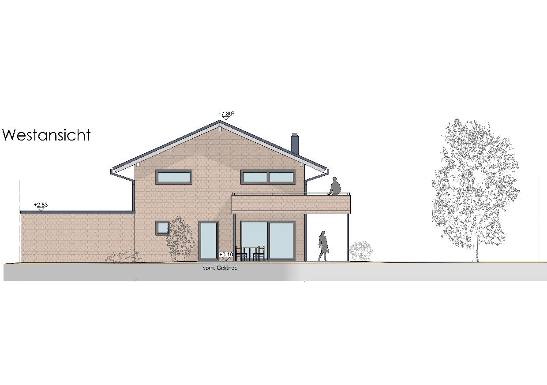 Visualisierung, Einfamilienhaus in Oberstaufen, Westansicht
