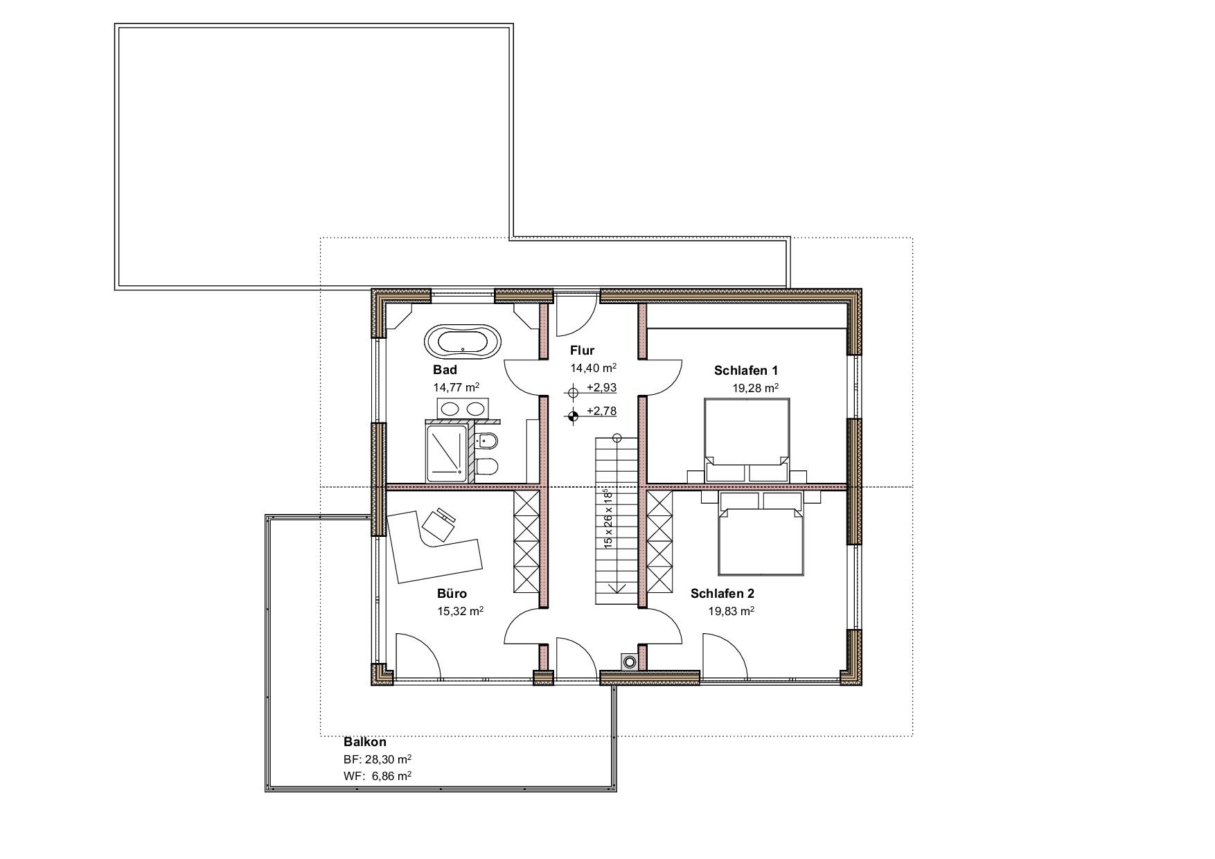 Grundriss, Obergeschoss, Einfamilienhaus in Oberstaufen