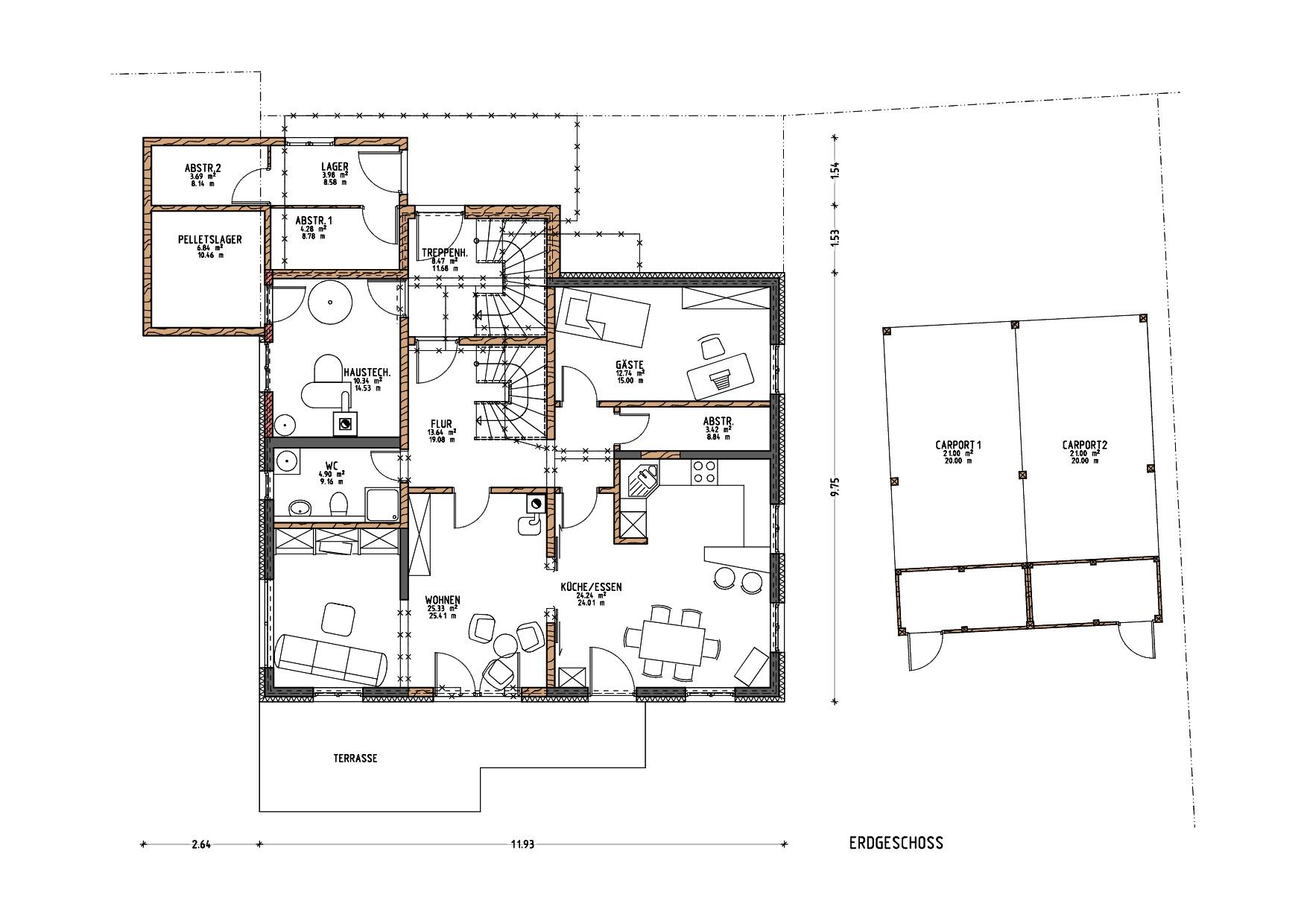 Grundriss, Erdgeschoss, Umbau und energetische Sanierung MFH in Grünenbach