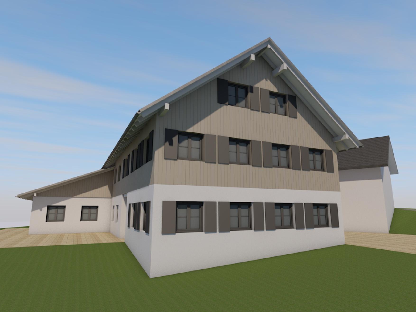 Visualisierung, Seitenansicht, Sanierung Bauernhof in Niederstaufen