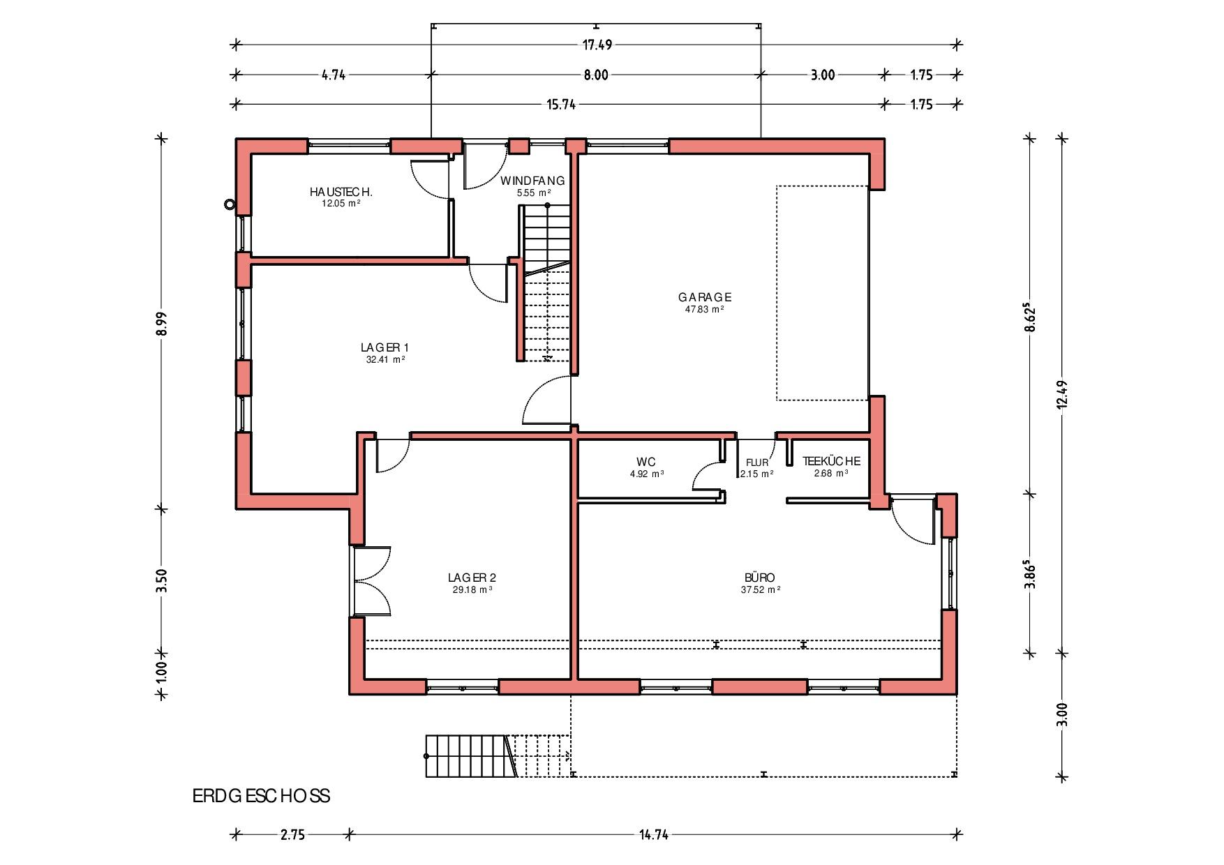 Grundriss, Erdgeschoss, Neubau Wohn- und Geschäftshaus in Heimenkirch