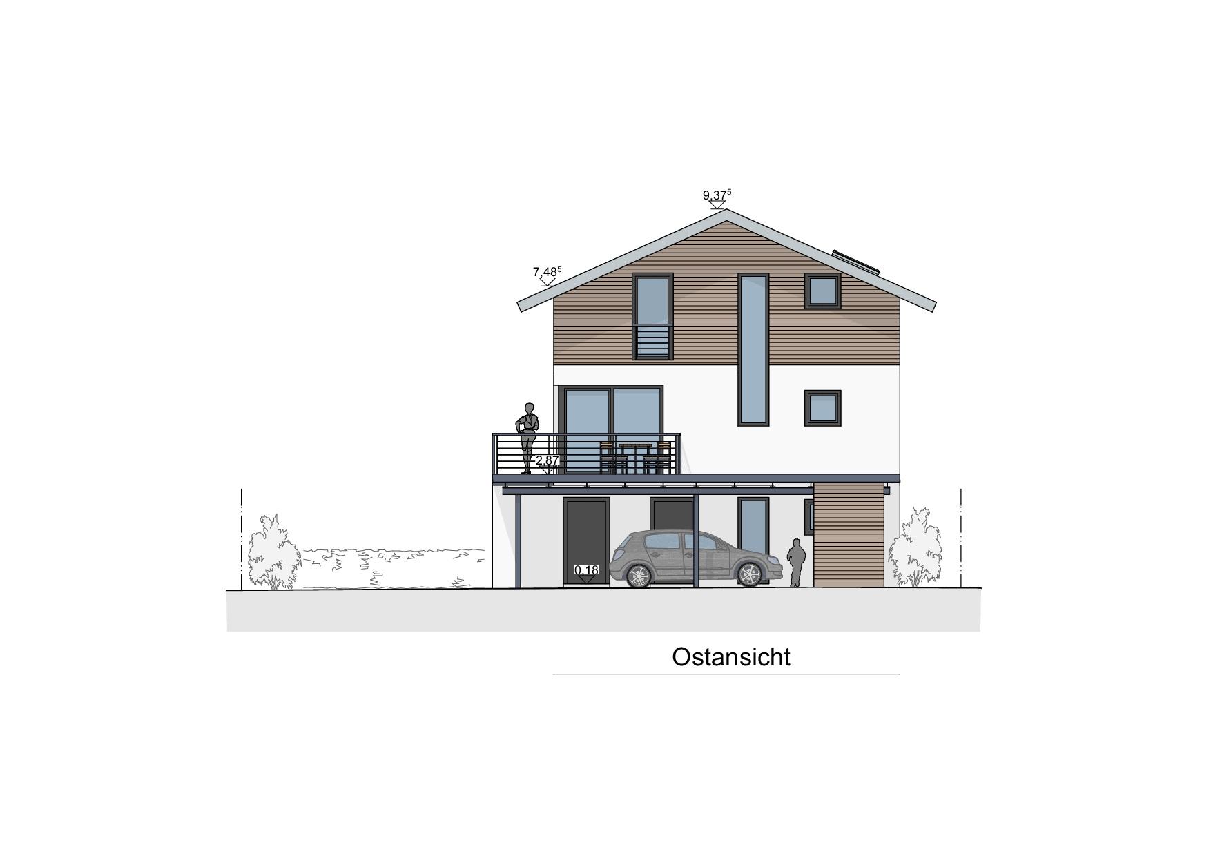 Einfamilienhaus mit Geschäftsbereich in Lindenberg - Ostansicht