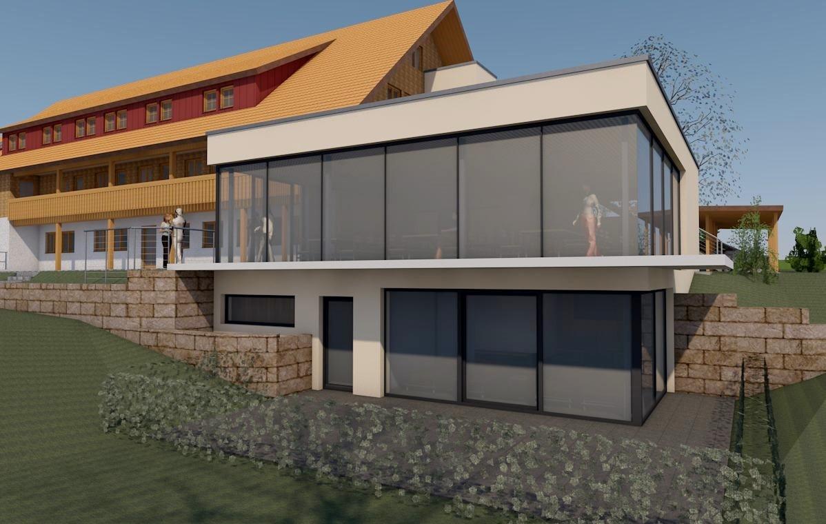 Visualisierung, Seitenansicht, Anbau an Beherbergungsbetrieb in Scheidegg