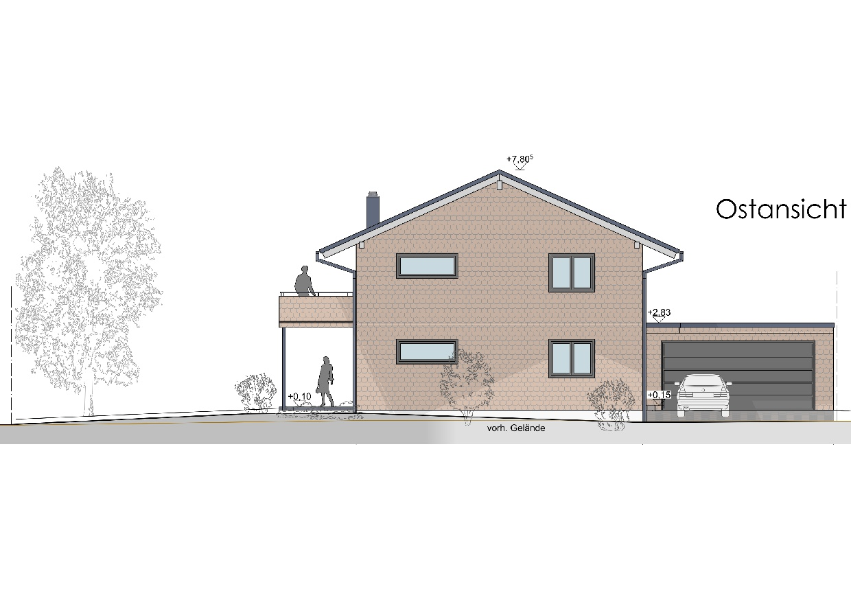 Visualisierung, Einfamilienhaus in Oberstaufen, Ostansicht