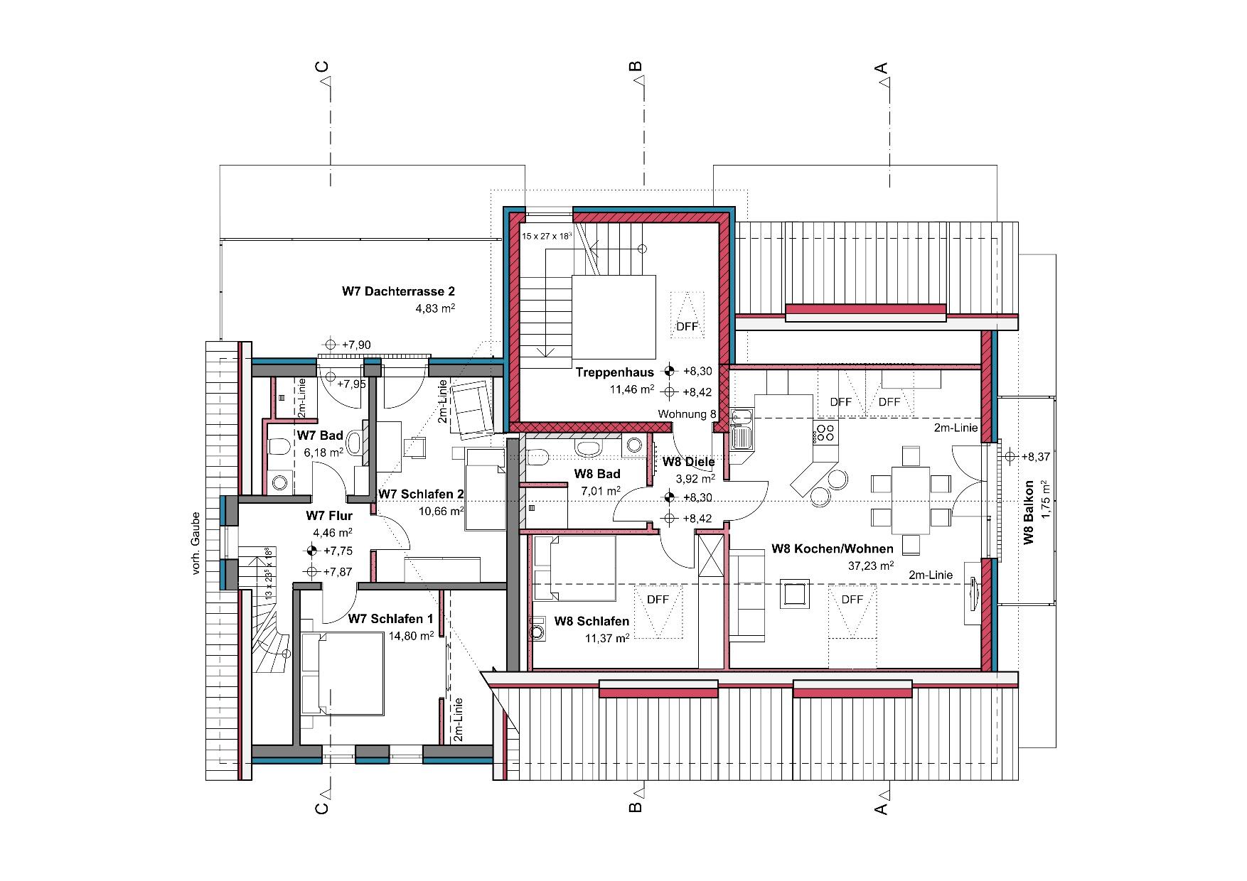 Grundriss, Dachgeschoss, Mehrfamilienhaus in Winnenden